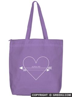 Sorority Heart Arrows Tote Bag | Customize the bag with your sorority name and change the bag and ink colors (shown in Alpha Phi). Minimum is 12 bags! Group pricing available. Check it out!! http://www.greeku.com/sorority/merchandise/bags/tote-bags/heart-arrows-tote-bag/
