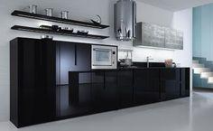 modern stylish glossy black kitchen cabinets