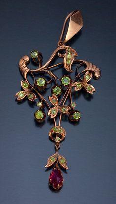 Antique Art Nouveau Russian Rose Gold And Demantoid Garnet Floral Pendant  c. 1908-1917