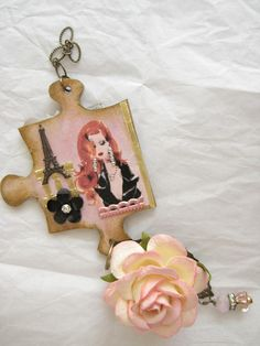 Altered puzzle piece charm (back)