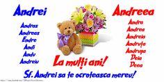 Felicitare de Sf. Andrei cu numele sarbatorite Teddy Bear, Noiembrie, Toys, Romania, Activity Toys, Clearance Toys, Teddy Bears, Gaming, Games