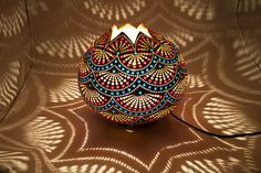 Handmade Decorative Gourd Lamp Unique Gift by TheColorsofTheArt