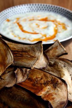 Amapola, el mundo en un plato: Chips de berenjenas light con tzatziki