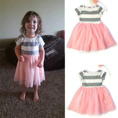 #toddler #toddlerdress #stripe #fashion #girldress Buyer's show! Striped Girls Summer Dress. For 1-7 Years Old Girl