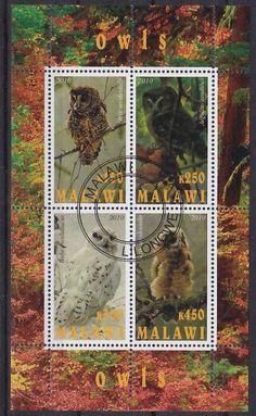 Owl postage stamps Malawi.
