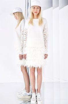 White lace sleeves sweatshirt + feathers skirt #DKNY #Resort2015 #fashion