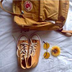 Converse and Kanken Mochila Kanken, Kanken Backpack, Mellow Yellow, Mustard Yellow, Flower Yellow, Tmblr Girl, V Instagram, Disney Instagram, Art Hoe Aesthetic