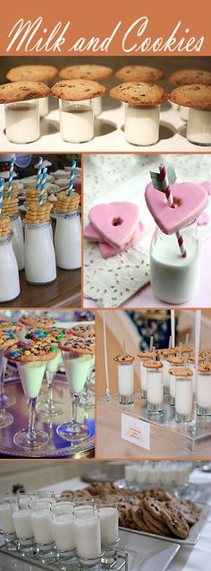 Oh so cute milk and cookie ideas.  To stick with the black and white theme, I'd do something like a double chocolate espresso truffle cookie or another dark cookie with the nice white milk.  Could also do a white cookie with dark chocolate milk :)  ....or a mixture of both.  Not complicated at all!  ;)