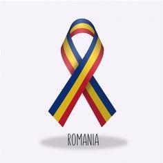 Romania flag ribbon design Free Vector