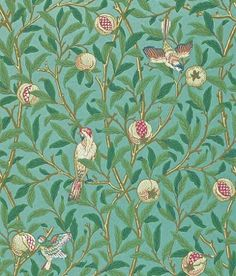 Bird & Pomegranate (212538) - Morris Wallpapers - One of the last of the true Morris designs from 1926, showing birds amongst branches of foliage and pomegranate fruit. Shown in the green on metallic teal colourway.  Please request sample for true colour match.