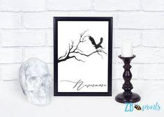 Instant Download Nevermore Edgar Allen Poe Halloween Quote   Etsy
