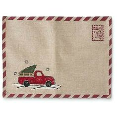 Vintage Trucks Vintage Truck Table Placemats - Red Vintage Truck - 13 Inch Rectangle Line Place mat with Christmas Tree in Vintage Red x Christmas Red Truck, Cabin Christmas, Christmas Runner, Plaid Christmas, Vintage Red Truck Decor, Vintage Trucks, Primitive Quilts, Burlap Table Runners, Tree Quilt