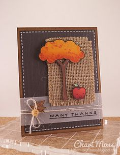 beautiful autumn card by Chari Moss, nice texture with hessian, .?linen or cross stitch fabric also?