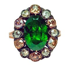 Russian 5 Ct Demantoid Fancy Colored Diamond Antique Ring | From a unique collection of vintage engagement rings at https://www.1stdibs.com/jewelry/rings/engagement-rings/