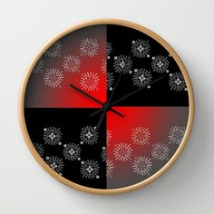Color Block Bursts Wall Clock..choose the color of the hands..white or black. Also choose the color of frame.