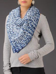Buy Indigo White Shibori Natural Dyed Stole Silk Accessories Scarves & Stoles Online at Jaypore.com