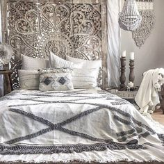 Decorate the room of your home with the motivation of bohemian style stunning be. - 3 / home decor - Boho Bedding Bohemian Style Bedding, Bohemian Bedroom Design, Boho Bedding, Bohemian Headboard, Bedroom Designs, Bohemian Decor, Bed Headboard Design, Headboards For Beds, Unique Headboards