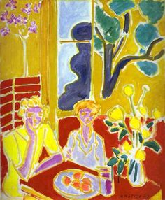 Matisse, Two Girls in Yellow and Red Background