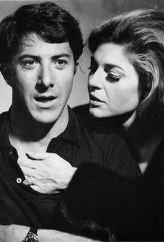 """Dustin Hoffman and Anne Bancroft in The Graduate (1967):  Benjamin: Mrs. Robinson, I can't do this anymore. * Mrs. Robinson: You what? *  Benjamin: This is all terribly wrong.  * Mrs. Robinson: Do you find me undesirable?  * Benjamin: Oh no, Mrs. Robinson. I think, I think you're the most attractive of all my parents' friends. I mean that."""" ~ ♪ <3"""
