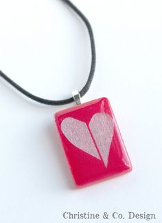 Silver Heart on Red Glass Pendant by ChristineandCodesign on Etsy, $30.00