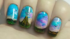 Volcano Freehand Nail Art Tutorial