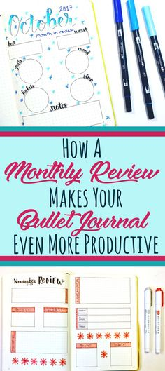 A month in review for your bullet journal helps you process the information you track in your weekly and monthly layouts. The whole point of a tracker is to use the information to make whatever you're tracking better, right? By processing your month, this helps your bujo (and your life!) become more organized and efficient. Suggestions and ideas to create a successful monthly review page! #bulletjournal #bulletjournalblog #monthlyreview #goodhabits #planner #bulletjournallayout
