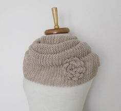 Milky Brown Cowl Neckwarmer With Flower Brooch-Ready For Shipping by knittingshop on Etsy