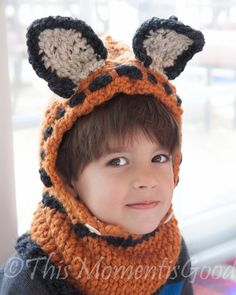 Loom Knit Fox Hood & Cowl PATTERN. Toddler and Child Size. Instant PDF Download. Chunky, Cozy Loom Knit Hood and Cowl.