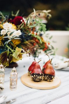 Chocolate Dipped Pears for a Winter Tablescape | Just West + Sprinkles for Breakfast