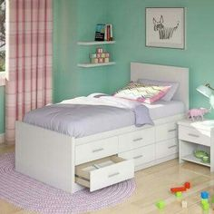 CorLiving Willow Twin Captains Storage Bed with 6 Drawers - Frost White - Kids Beds at Hayneedle Cheap Bunk Beds, Bunk Beds Small Room, Bunk Beds With Stairs, Kids Bunk Beds, Small Rooms, Loft Beds, Bed Designs With Storage, Kids Beds With Storage, Kids Storage