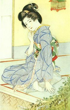 Japan antique illustration. illustrator / Kasyou Takabatake.   kimono beauty lady. last years of the taisyou period / early Showa period.