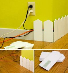 cut idea to hide wires.especially in a play room, rec room or kids room.However, if I was using in a play room or kids room I wouldnt use a picket fence but a rounded top - Diy for Home Decor Hide Cables, Hide Wires, Hiding Cords, Hide Electrical Cords, Electrical Outlets, Ideas Geniales, Home And Deco, Home Projects, Fall Projects
