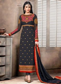 Grey Embroidered Georgette Straight Suit
