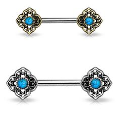 Our Turquoise Centered Tribal Flower Ends 316L Surgical Steel Nipple Barbells piercing body jewelry