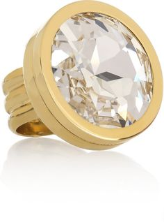 Lanvin Oversized Crystal and Brass Ring