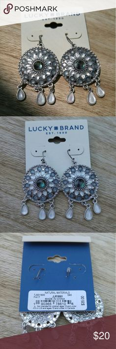 Lucky Brand Earrings Silver, blue and white studded Lucky Brand earrings with white danggling stones Lucky Brand Jewelry Earrings