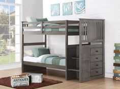 Gray Bunk Beds for Boys or Girls with Stairs and Storage Drawers