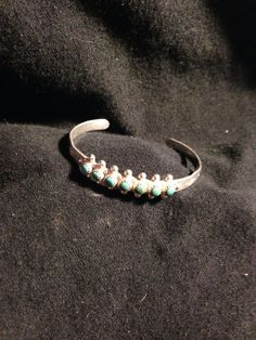 Child's Vintage Sterling Silver & Turquoise Cuff Bracelet - Native American on Etsy, $48.00