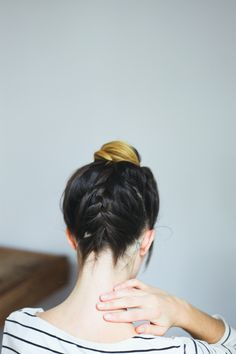 Braided top knot // hair tutorial