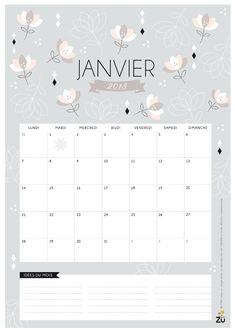 Calendrier janvier 2013 - Zü free printable !