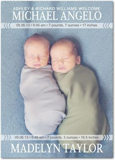 Welcome the little ones with Twin Photo Birth Announcements from Tiny Prints!