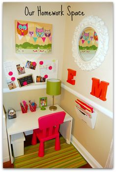 This post is on homework station ideas for kids and the space we created for my oldest daughter last year when she was in first grade. It started with a little home office makeover (stay turned for another post to come) which gave me the idea (and some open space) to make a corner of our office into a little homework space for her.