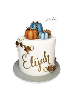 Fall inspired baby shower cake with pumpkin decor. Call or email to order your celebration cake today. click the link below for more information. Baby Shower Fall, Fall Baby, Pumpkin Decorating, Cake Decorating, Cakes Today, Cupcake Wars, Fondant Cakes, Autumn Inspiration