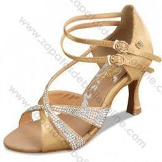 A2204-35 Zapatos baile salón latino oro con cristales