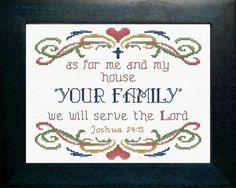As for Me and My House - Joshua 24:15 - Personalize with Your Family Name, Cross Stitch Kit