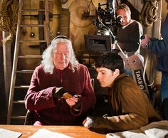 on the set of Merlin