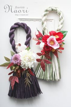 Japanese New Year wreath 2015 お正月 Rope Crafts, Diy Arts And Crafts, Diy Crafts To Sell, Chinese New Year Decorations, New Years Decorations, Fabric Flowers, Paper Flowers, Japanese New Year, Neuer Job