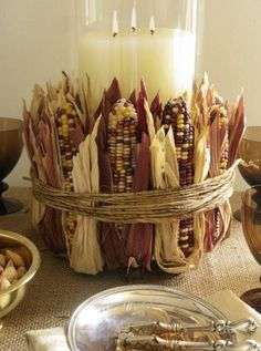 Autumn/Fall candle deco (multicolored corn)