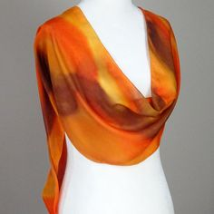 """Hand Painted  Silk Scarf in range of orange, yellow and gold. """"Mars"""", handmade, handpainted. Approx 10.5X 68 inches by SeesaSilk on Etsy"""