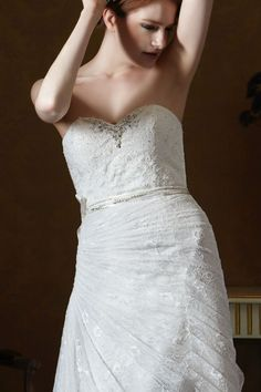 Style * GL058 * » Wedding Dresses » Gold Label 2014 Fall Collection » by Eden Bridals » Available Colours : White, Ivory ~ Shown Sweetheart Bodice lined with Beaded embellishment at Neckline & Beaded Ribbon at waist (close up)